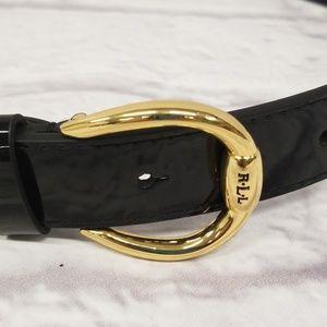 Ralph Lauren Stingray Pant Belt Shiny Black Gold